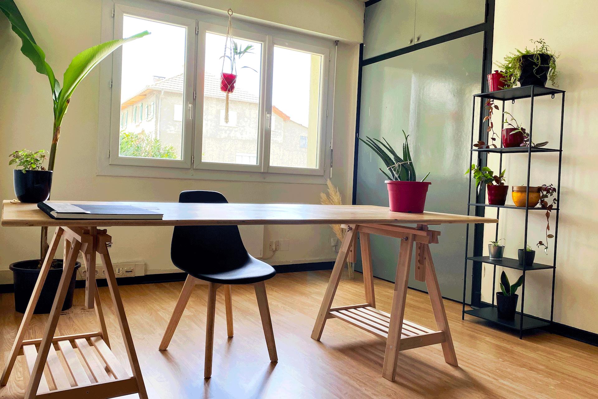 Pièce lumineuse avec bureau